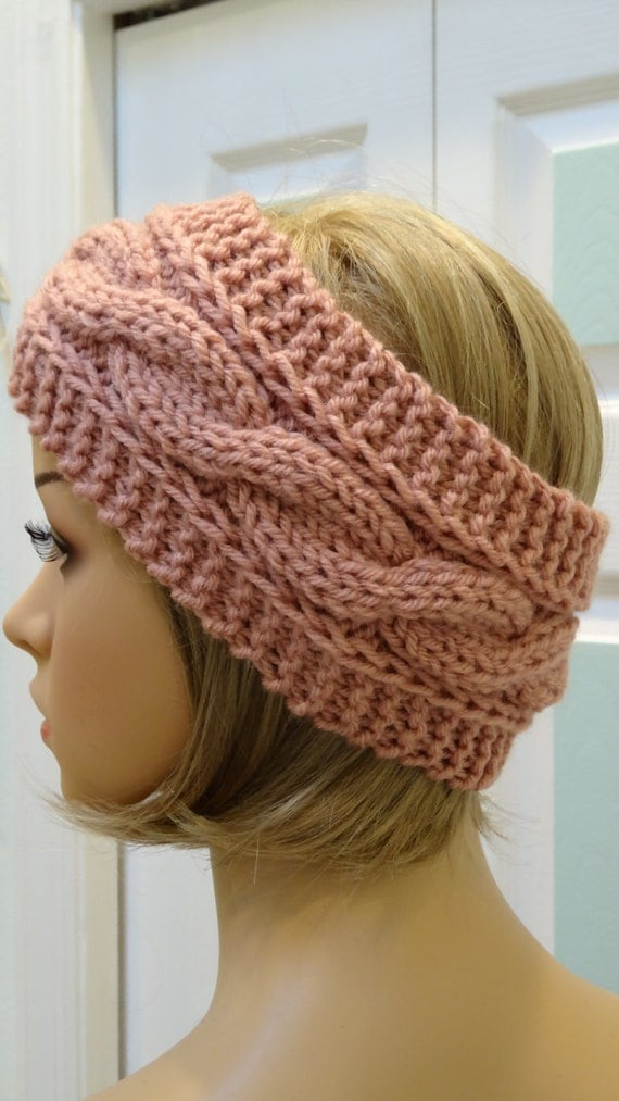 Dusty pinkheadband/earwarmer hand knitted in a by UptownKnits