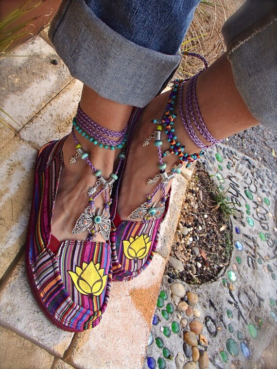 Striped LOTUS Canvas SHOES Espadrilles Flats Yellow Lotus Hand painted shoes tribal Mexican women shoes cotton slippers