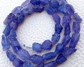 Brand New, Amazing NATURAL TANZANITE Hammered Rock Full Drilled Nuggets,8-9mm,Full 8 Inch Strand,Amazing Rare Item