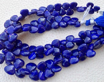 Brand New, 1/2 Strand, Lapis Lazuli SMOOTH Heart Briolettes,(Size 7-9mm approx),Great Quality at Low Price