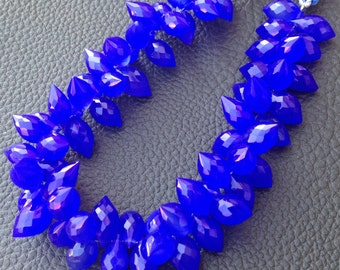 Brand New 1/2 Strand, COBALT BLUE Chalcedony Micro Faceted Dew Drops Briolettes,9-12mm Long size,Gorgeous