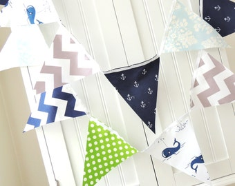 Baby Shower Nautical Banner, Fabric Pennant Flag Party Bunting, Navy Blue Whale, Anchor, Grey Chevron, Lime, Boy Nursery Decor, Photo Prop