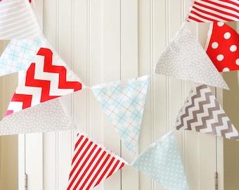 Wedding Banner, Bunting, Fabric Flags, Baby Shower, Modern Red, Light Blue, Grey, Chevron, Stripe, Argyle, Birthday Party, Boy Room Decor