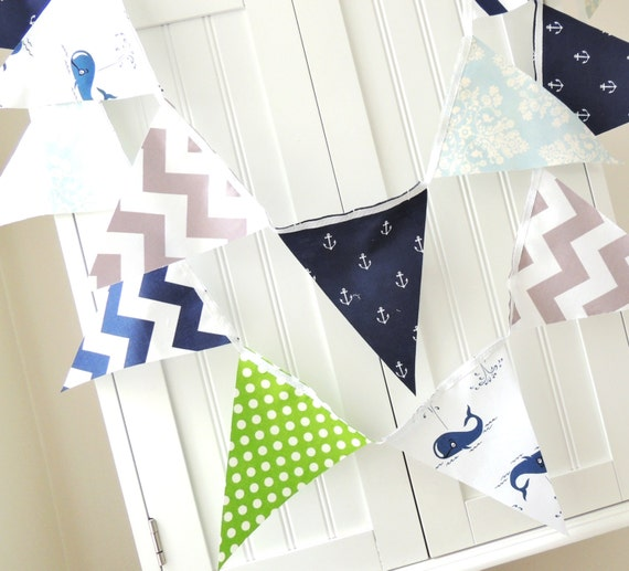 Baby shower nautical banner fabric pennant flag party for Baby themed fabric