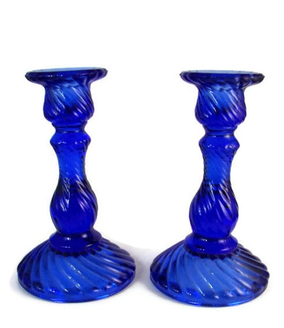 Vintage Cobalt Blue Glass Candle Sticks Candle Holders