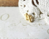 LOVE cross and heart teeny tiny vintage post earrings (gold)