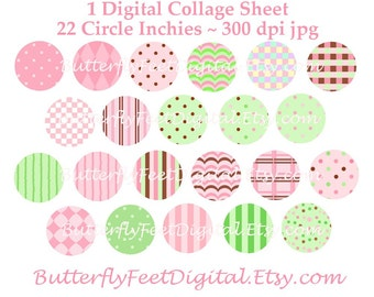 One Inch Circles - Digital Collage Sheet - Pink, Green, Brown - Instant Download