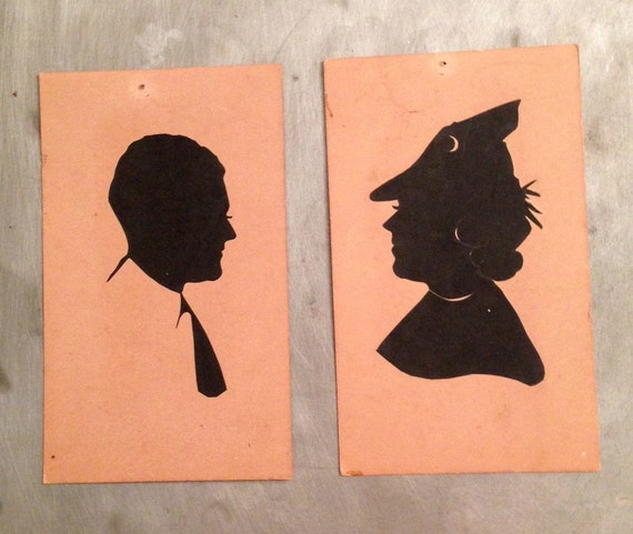 vintage silhouette pair paper cut antique portrait profile man