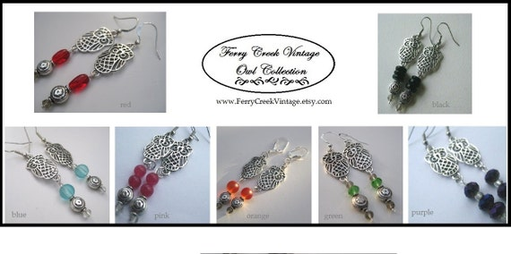 WIZARD OWL EARRINGS - Antique Silver - Red Glass Beads - Dangle Earrings - By FerryCreekVintage