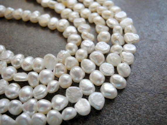 White Freshwater Pearls  5-6mm Nugget  Full Strand
