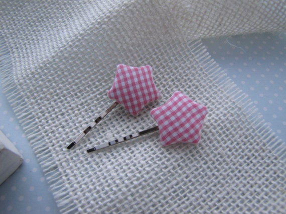 Country Gingham . bobby pins . hair accessory . stars . pink white