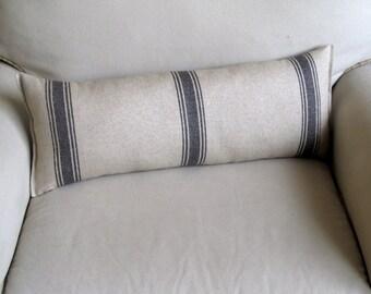 FRENCH LAUNDRY Linen/Cotton 9x25 Bolster/lumbar pillow in dark blue stripes