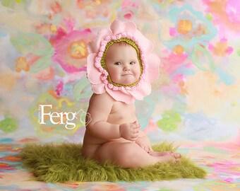 Flower Baby Bonnet  -  Cherry Blossom  Slip-on  Bonnet for Baby Girl  . Newborn Photo Prop Hat . 3m 6m 12m flower hat
