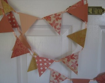 Peach and Ribbon Banner----Garland   8 feet long