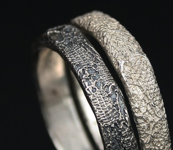 silver  lace stacking rings  - made to order in your size