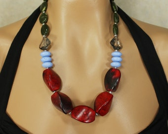 Chunky Bright Red, Periwinkle Blue, and Olive Green Statement Necklace, Monet Fields