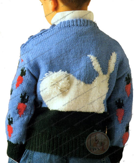 Rabbit Sweater Knitting Pattern : Vintage pattern to knit rabbit pull over sweater for