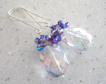Long Quartz and Silver Earrings with Purple Swarovski Crystals Cluster
