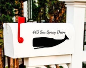 Whale mailbox Vinyl decal Address sticker Mail Box coastal beach decor Set of Two Personalized gifts
