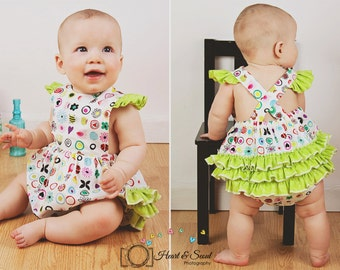 Ruff or Ruffled Romper PDF pattern - Ellie Inspired Baby Romper pattern - Sizes Newborn - 36 months