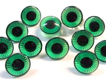 Green Doll Eyes Plastic EYES Crystal Cut Rimmed Six (6) Pairs 25mm Green Emerald Owl Eyes Vintage Doll Parts Jewelry Supplies (S148)