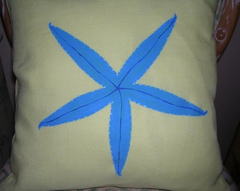 SPRING SPECIAL Turquoise starfish on hand dyed yellow linen washable pillow cover OOAK