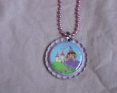 Dora Flattened Bottlecap Necklace
