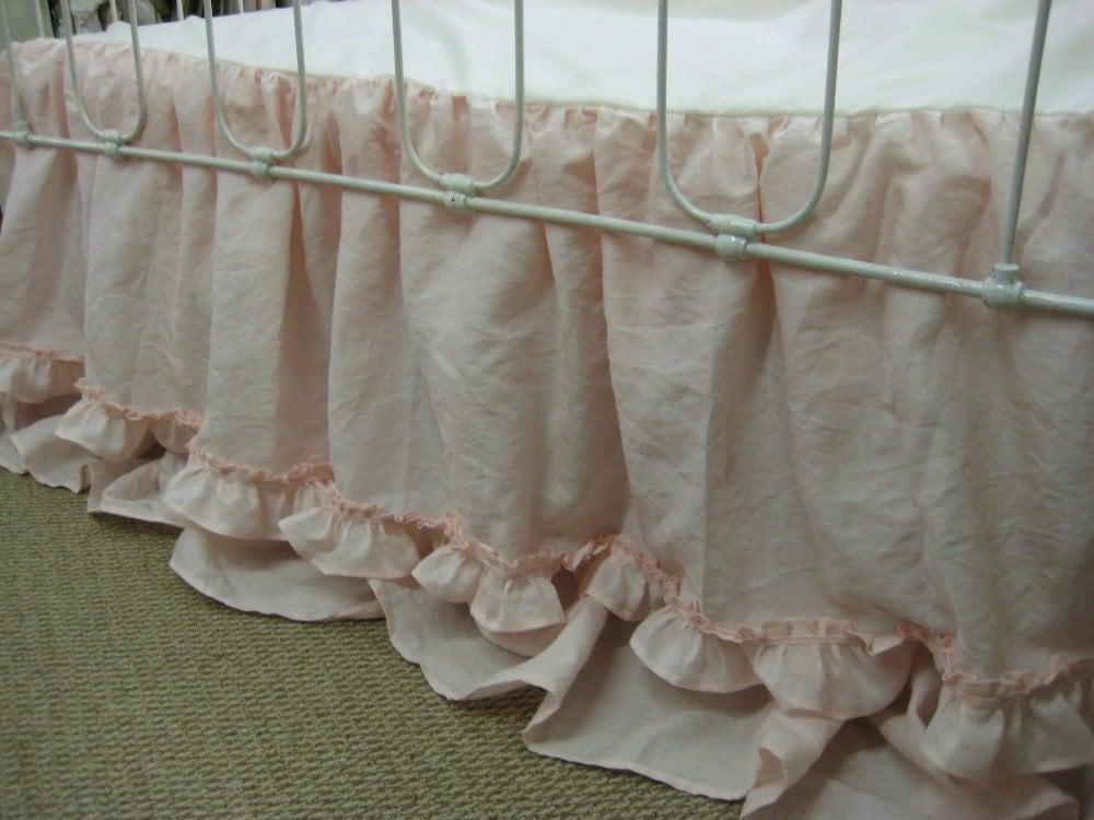 custom ruffled linen crib bedding in blossom pink-washed linen