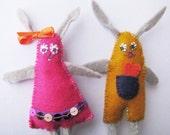 Easter decor -  toy  rabbit girl and  rabbit boy gray, pink, ocher .