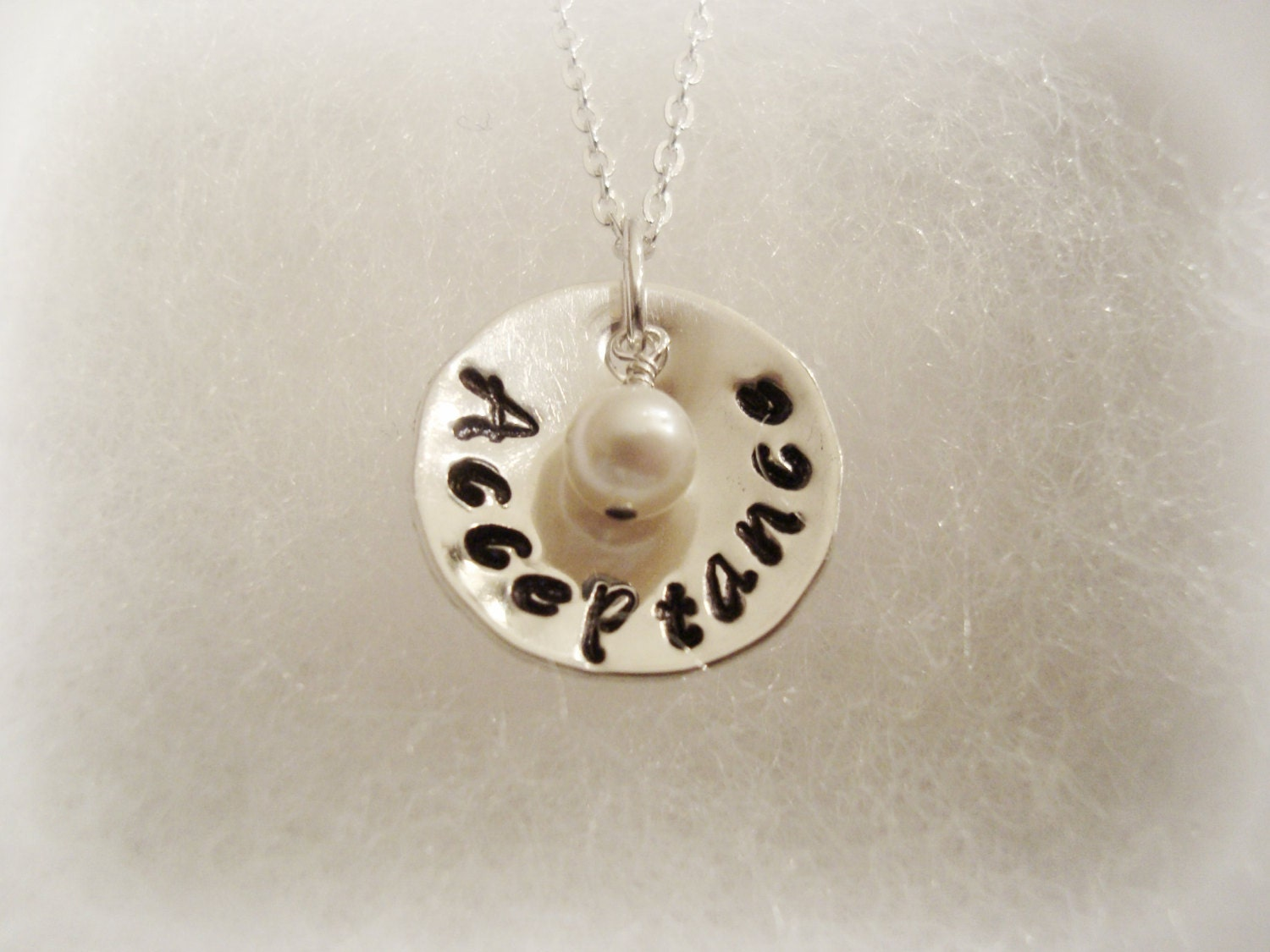 Stamped Sterling Silver Word of your Choice with Freshwater Pearl
