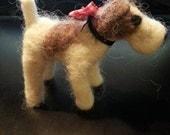Custom Made Neede Felted Miniature Animals - Fox Terrier