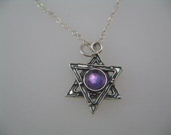 Classic Jewish Star of David Necklace, Star of David Necklace with Amethyst Gemstone, Judaica Jewelry, Sterling Silver Pendant Necklace