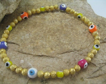 Gold Bracelet, Evil Eye Charm Bracelet, Evil Eye Stack Bracelets, Gold Bangle, Multi Colored Beaded Evil Eye Stretch Bracelet