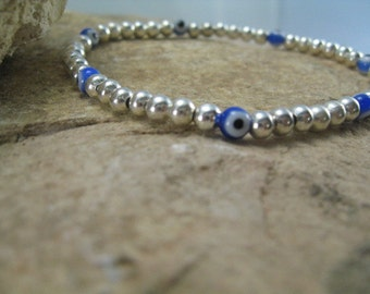 Evil Eye Bead Bracelet, Beaded Bracelet, Blue Evil Eye Silver Bead Bracelet Beach Jewelry