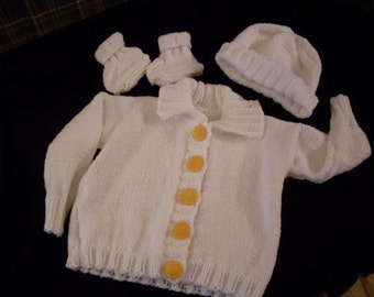 Hand knit baby girl's snow white sweater set