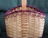 Handwoven Wine Carrier Basket with Green & Burgandy accent  in Dyed Reed braided rim
