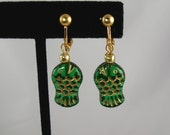 Green Crystal Fish Earrings with Golden Clipons