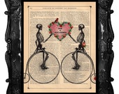 Custom wedding gift - Skeleton lovers on bicycles - anniversary skeleton bike flower heart gift art print dictionary antique book page print