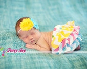Spring summer polka dot and chevron pink yellow aqua and green ruffle bloomers diaper cover and matching headband for newborn baby infant