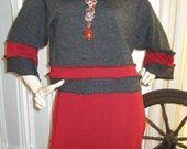 Red and Charcoal Gray Recycled Sweater and Skirt Set Womens small Free shipping