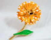 Yellow Orange Polka Dot Spring Flower Vintage Pin