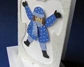 Snow Angel Pull Tab Card - Blue