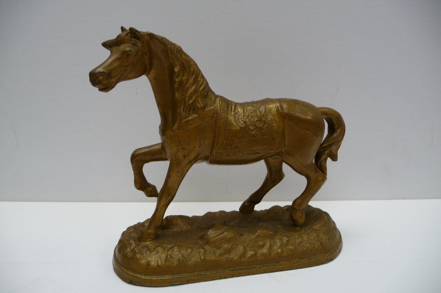 Vintage Antique Horse Cast Metal Sculpture Figurine Arabian On