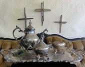 Silver Tea Set Vintage Serving Tray Silver Tea Pot Creamer and Sugar Bowl FB Rogers