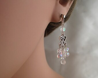 Clear Crystal AB Earrings Bridal Dangle Sterling Silver Drops Chandelier Wedding Jewelry Bridal Jewelry Downton Abbey Inspired