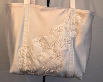 Regal duchess satin with fuschia pink interior brides bag bridal tote