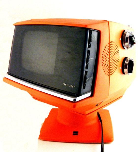 Portable T V S : Retro sharp tv orange portable model s r space age