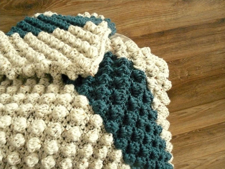 Modern Baby blanket bobble baby blanket crochet afghan Tan