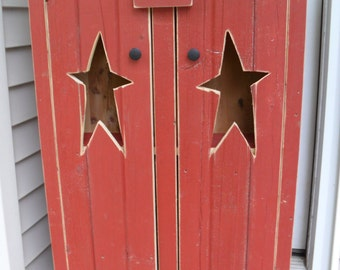 Rustic Red Star Cabinet