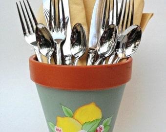 Lemon Flower Pot Terracotta Silverware Holder Hand Painted